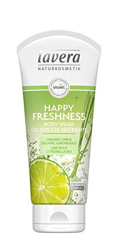 lavera Happy Freshness Douchegel Nutriente ∙ Vegan ∙ 100% natuurlijke cosmetica 800 ml (4 x 200 ml)