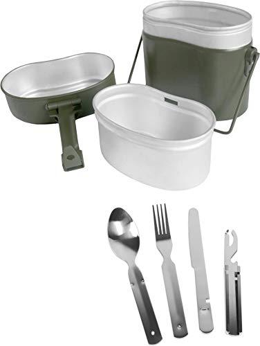 normani Bundeswehr Essgeschirrset Bund Essbesteck + BW Aluminium Kochgeschirr Farbe Grün