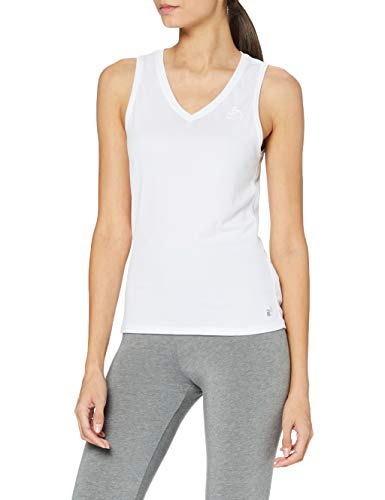 Odlo Damen SUW TOP V-Neck Singlet Active F-Dry Light Unterhemd, White, L