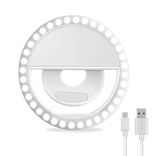 Anillo de Luz,Ring Light Recargable Selfie Luz 36 LED Anillo de luz Exterior,3 Niveles de Brillo Ajustable Anillo de luz LED para Teléfono Inteligente Android Celular Tableta Pad y Fotografía (Blanco)