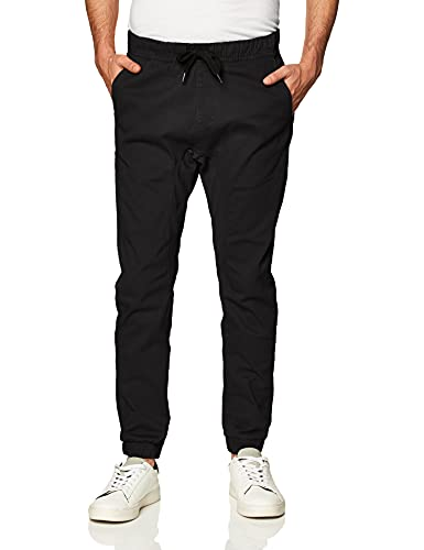 Southpole Men's Basic Stretch Twill Jogger Pants-Reg and Big & Tall Sizes, Black, X-Large