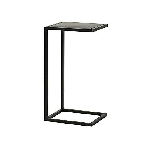 Mesa auxiliar de metal, mesita de noche de hotel, moderna y pequeña, en forma de C, negro, 32 x 25 x 50 cm (tamaño: 32 x 25 x 50 cm, color: negro)