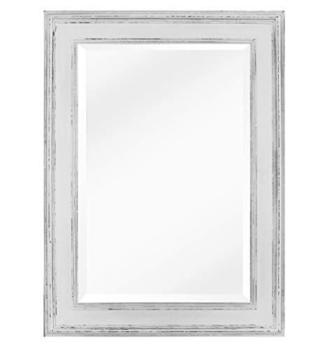 Espejo Rectangular de Pared Estilo Shabby Chic - Madera Genuina - Grande 90x60cm - Estilo campestre rústico en Color Blanco Estresado