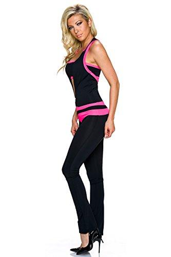 Crazy Age Damen Overall Jumpsuit Einteiler One Piece mit Bandeau Top | Racer Back, Langer Zipper, Enger Schnitt | Farbe rosa Größe 34-36 - 2
