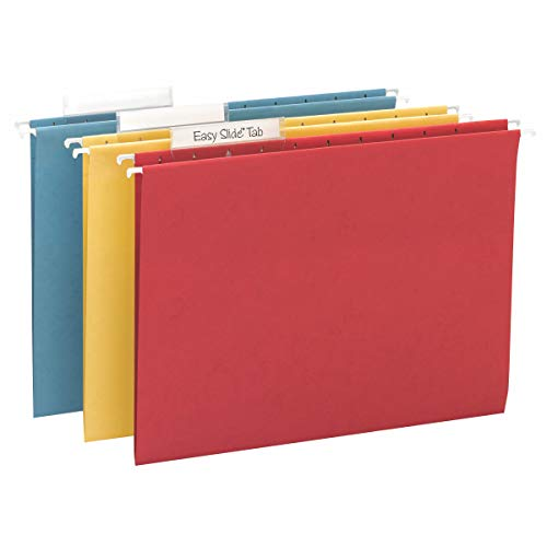 Smead TUFF Hanging File Folder with Easy Slide Tab, 1/3-Cut Sliding Tab, Letter Size, Assorted Primary Colors, 15 per Box (64040, Rod Color May Vary)