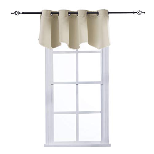"""Aquazolax Window Treatments Curtain Valance with Grommets Scalloped Valance Drapes for Bedroom Windows, 52"""" Wide x 18"""" Long, Beige, One Panel"""