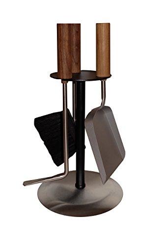 MS Beschläge® Kaminbesteck Kaminset Kamingarnitur Ofenset mit Nussholzgriffen und Besteck aus Edelstahl