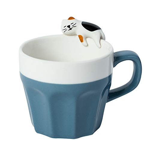 Benutzerdefinierte kreative Tasse einfache Tasse Keramik Kaffeetasse Cartoon schlafende Katze Wassertasse mit Deckel Löffel Milchtasse Katzenkralle Tasse