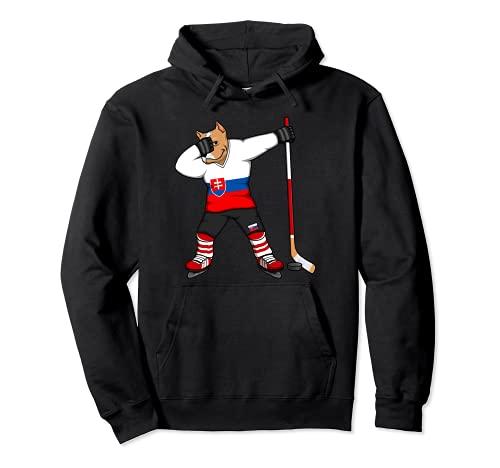 Dabbing Pitbull Slowakei Eishockey Mannschaft Wintersport Pullover Hoodie