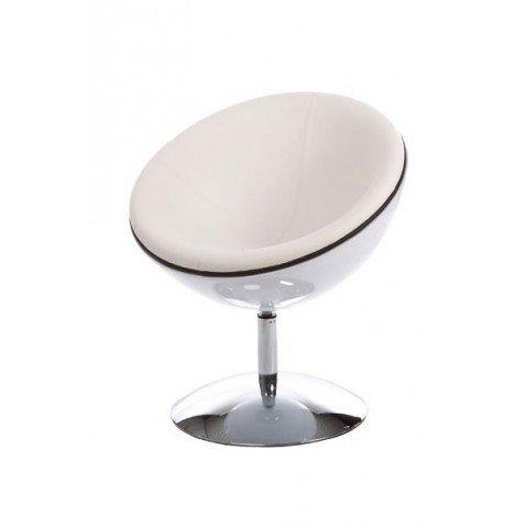 Fauteuil Boule Design Coque Blanche laqué Sphere Simili Cuir Blanc pivotant Pied Rond métal chromé Rotatif Pas Cher
