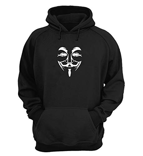 Guy Fawkes Classic Mask Enigma Cyber World_KK018764 Hoodie Hooded Sweater Sweatshirt Christmas Gift Unisex Cotton - Black