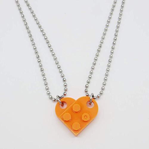 Lindo amor corazón ladrillo colgante collar para parejas amistad mujeres hombres muchacha muchacho lego elementos de la joyería del día de tarjeta del día de San Valentín
