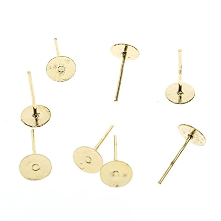 YOYOSTORE 100 Golden Stainless Steel Flat Pad (with 12mm Post) Earring Finding Plus 100 Metal Earring Backs Blank (4mm)