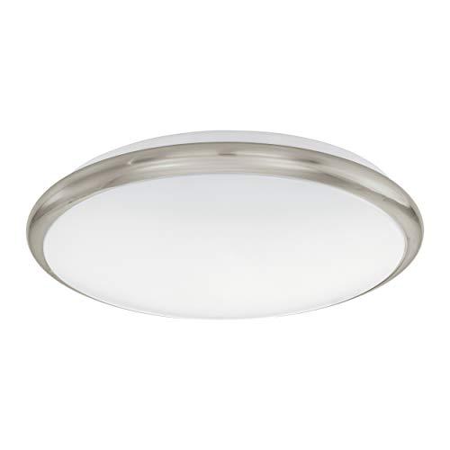 Preisvergleich Produktbild EGLO LED Deckenlampe Manilva,  1 flammige Deckenleuchte,  Wandlampe mit Dekoring in Matt-Nickel,  Material: Stahl und Kunststoff,  Farbe: Nickel matt,  weiß,  Ø: 30 cm