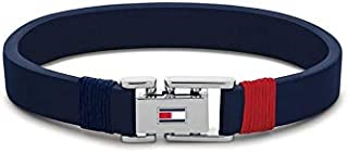 Tommy Hilfiger Men'S Stainless Steel & Navy Leather And Navy And Red Cord Wrap Bracelets -2790226S