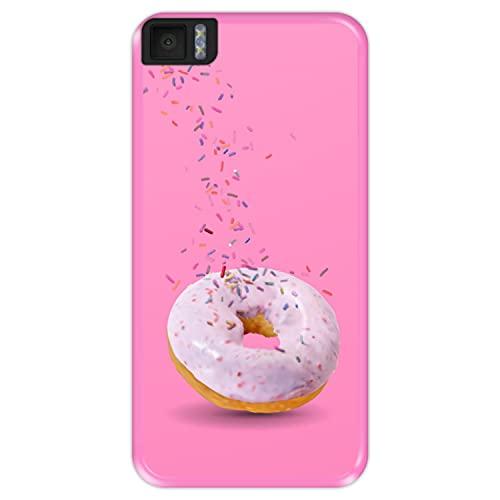 Hapdey Funda Rosa para [ Bq Aquaris M4.5 - A4.5 ] diseño [ Donut, Sabor a Fresa ] Carcasa Silicona Flexible TPU