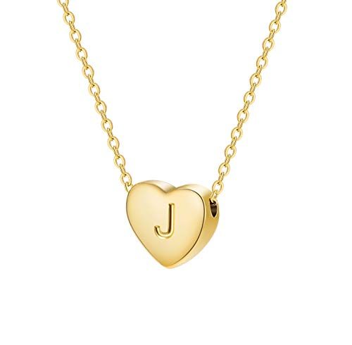 Dainty Heart Initial Necklace Letters J Alphabet Pendant Necklace Small Heart 18K Real Gold Plated Personalized Necklace for Girl Women