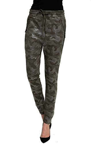 Zhrill Damen Joggpant Stoffhose Anzugshose Tapered Cropped Slim Fit Fabia, Größe:XL, Farbe:N8117 - Olive