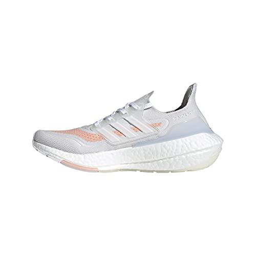 adidas Women's Ultraboost 21 Running Shoes, Crystal White, White, Pink, 5 UK