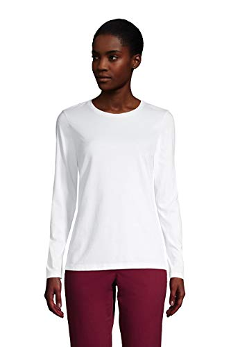 Lands' End Women Relaxed Supima Long Sleeve Crew White Regular Large