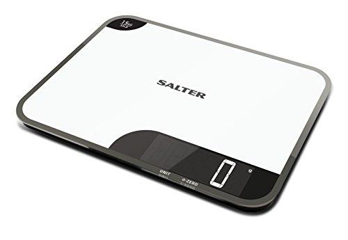 Balance de cuisine numérique Salter Max planche à découper - Grande plate-forme en verre balance de cuisson électronique pour la maison, pèse les aliments jusqu'à 15 kg, garantie de 15 ans - Blanc