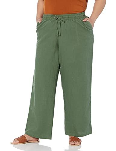 Amazon Essentials Pantalón de Pierna Ancha con cordón de Mezcla de Lino, Talla Casuales, Verde Militar, 6XL Grande