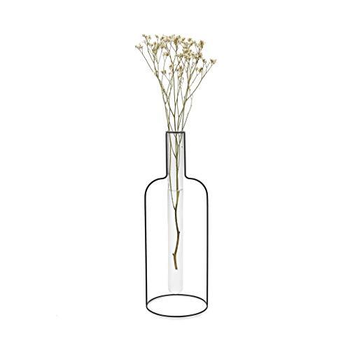 balvi Blumenvase Round Silhouette XL Farbe Schwarz Dekorative Vase aus Glas und Metall Originelle Blumenvase in Form eines Reagenzglases aus Glas/Metall 34 cm