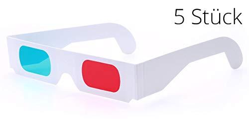 3D-Brille rot/Cyan (5 Stück) - Hochwertige Anaglyphenbrille aus Papier fürs Kino, TV, Videospiele oder 3D-Bilder