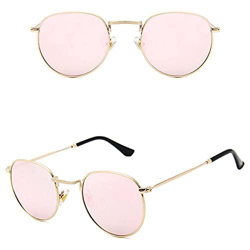 WQZYY&ASDCD Gafas de Sol Gafas De Sol Clásicas Polarizadas Redondas De Estilo Metálico para Mujer, Gafas Retro Vintage, Gafas De Sol para Hombre, Sombras Uv400-Rosa