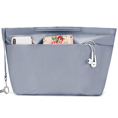 bridawn Nylon Tote Organizer Purse Insert Pocketbook Organizer Insert Handbag Divider with Handles Zipper Closure