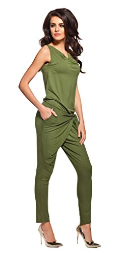 Lemoniade stylischer Jumpsuit ohne Ärmel mit elegantem Wasserfallkragen, khaki, Gr. S