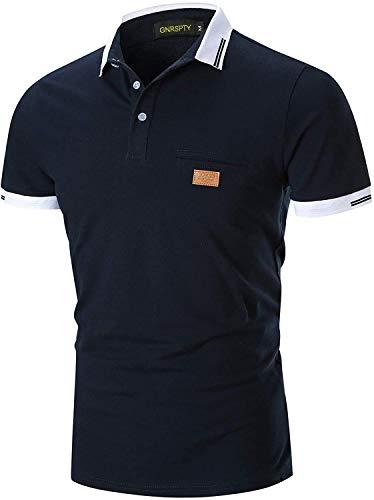 GNRSPTY Hombre Polo Manga Corta Costura en Contraste Escote Básico Golf Camisa Poloshirt Negocios Camiseta de Tennis Verano,Marina 1,XL