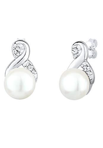 Elli Ohrringe Damen Infinity Perle mit Swarovski® Kristalle in 925 Sterling Silber
