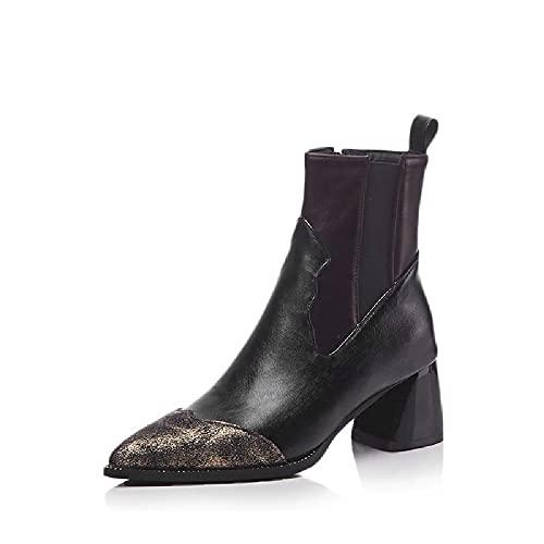 Botas cortas de tacón alto, botas desnudas de cuero, botas informales de las mujeres puntiagudas de punta de punta de punta de la motocicleta de tobillo adecuados para otoño y primavera,Black-47