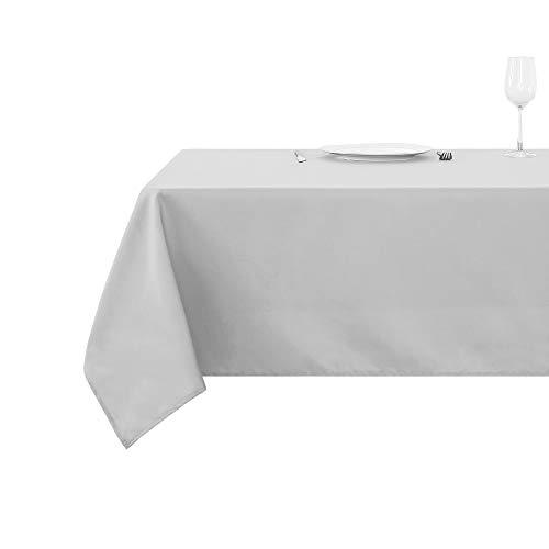 Deconovo Tischdecke Wasserabweisend Tischwäsche Lotuseffekt Tischtuch 130x160 cm Grau Weiß