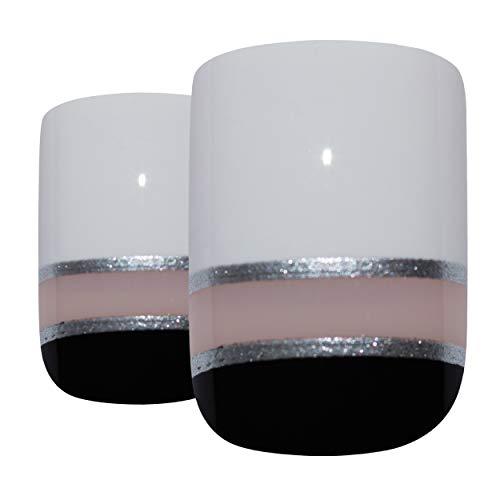Faux Ongles Bling Art Noir Blanc Glossy 24 Squoval Moyen Faux bouts d'ongles acrylique avec de la colle
