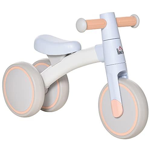 HOMCOM Bicicleta sin Pedales para Niños de 1-3 Años Bicicleta de Equilibrio con 3 Ruedas Silenciosas Correpasillos Triciclo de Bebé 60x24x37 cm Azul