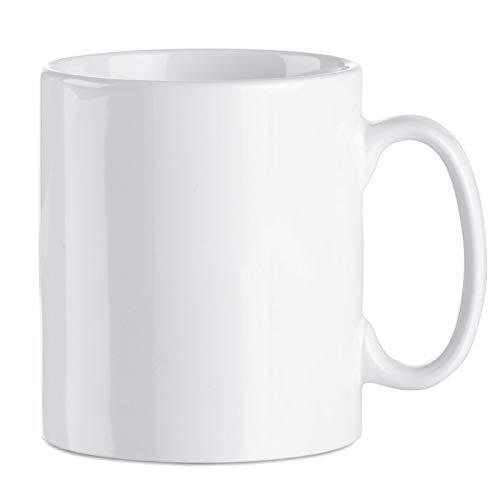 Publiclick® Lote 36 Tazas Blancas,Tazas cerámicas 350 ml. Presentada en Caja Individual, Tazas para Pintar, Boda, Tazas Ceramica, Med 9.8 x cm- 8.2 Ø -320gr (Sublimación)