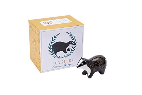 Fox and Fern Ceramic Mini Lucky Charm Painted Ornament Badger Decoration in Gift Box | From CGB Giftware's Fox and Fern's Range | GB05444