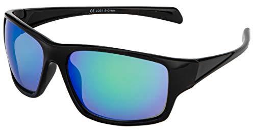 La Optica B.L.M. Sonnenbrille UV400 CAT 3 Unisex Damen Herren Sportbrille Fahrradbrille Laufen - Schwarz (Gläser: Grün Verspiegelt)