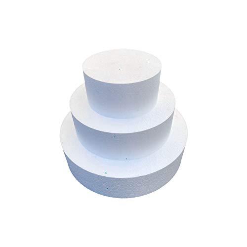 Styropor Torte - Ø 25cm+20cm+15cm - Höhe 30cm - Rund - Dummie - 3-stöckig - zum Selberbasteln von Geschenken zu Geburtstagen - Hochzeiten - Feiern