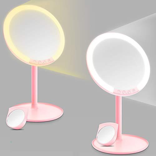 morpilot Specchio Trucco, Specchio da Tavolo con 66 LEDs, Specchio Cosmetico Illuminato, Regolazione della Luce a 3 Colori e 7 Luminosità, Specchio LED 7X,Ricarica USB,Rotazione 120°,Regalo per Donna