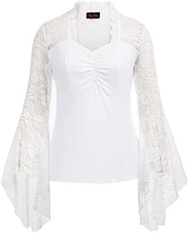 Women Gothic Lace Trumpet Sleeves T Shirt Tops Renaissance Blouse White 24W product image