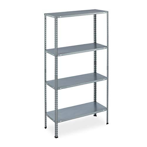 Relaxdays Metallregal verzinkt, HBT: 145x75,5x30 cm, 4 Böden, bis 160kg, zum Schrauben, Stahl, Lagerregal Keller, silber