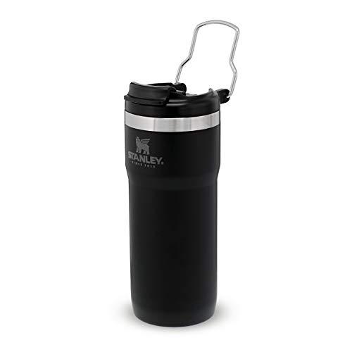 Stanley Classic Twinlock Travel Mug with Steel Loop Doppelwandiger, vakuumisolierter Kaffeebecher für Kaffee, Tee & Wasser   Hält heiß oder kalt   BPA-frei, 473ml, Matte Black
