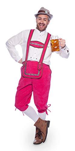 Folat Pink Lederhose Latzhose Oktoberfest Hose Herren Kostüm Gaywiesn