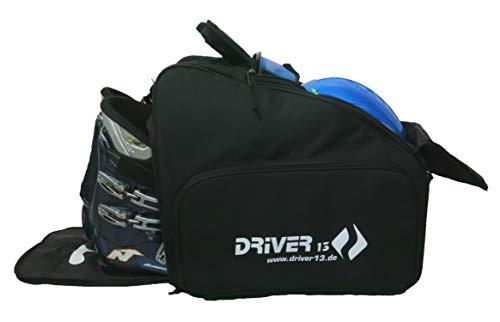 Driver13 ® Skischuhtasche Skistiefeltasche mit Helmfach für Hart Softboots Inliner und Bootbag Tasche schwarz Bootbag No. 03