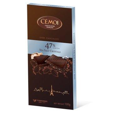 Cémoi - Schokoladentafel 'Zartbitter' mit Fleur de Sel und 47% Kakao (100g)