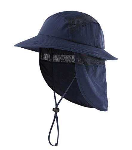 Home Prefer UPF 50+ Kids Sun Hat Boys Bucket Hat with Neck Flap Sun Protection Hats Fishing Hat Navy Blue