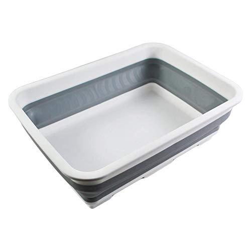 QUUY Opvouwbare afwaskom, draagbaar, opvouwbaar mandje van 10 liter, rechthoekige afwasbak van kunststof, voor campingcaravan-activiteiten buitenshuis, keuken, 37,5 x 28 x 12,4 cm